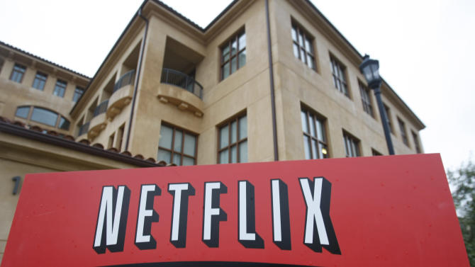 FILE - This Jan. 29, 2010, file photo, shows the company logo and view of Netflix headquarters in Los Gatos, Calif. Netflix reports quarterly earnings on Monday, Oct. 21, 2013. (AP Photo/Marcio Jose Sanchez, File)