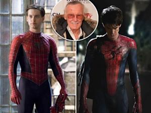 Tobey Maguire and Andrew Garfield as Spider-Man / inset: Stan Lee -- Columbia Pictures