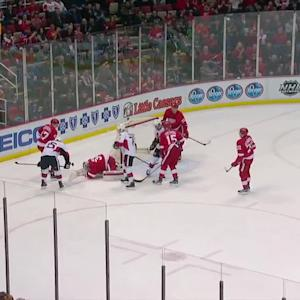 Mrazek sprawls for rebound save