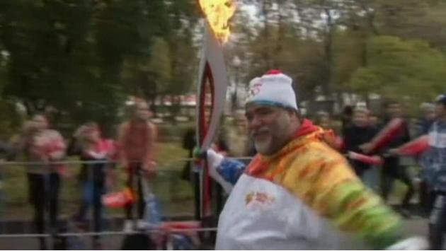 Olympic flame goes out during Russian torch relay