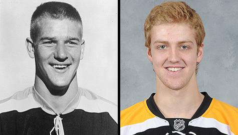 Boston Bruins defensemen Bobby Orr and Dougie Hamilton