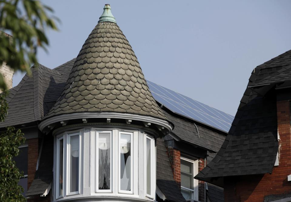 In this Sept. 14, 2011 photo, solar panels  are mounted atop of Tim Johnson's home in Philadelphia.  More solar energy is being planned in the U.S. than any other power source, including nuclear, coal, natural gas and wind. (AP Photo/Matt Rourke)