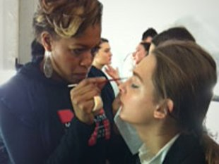 Echoing the clean lines of BCBG Max Azria's collection, make-up artists applied more natural looks this season.