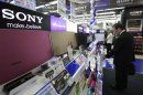 Sony Corp's speakers are displayed at an electronics store in Tokyo