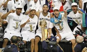 San Antonio Spurs after defeating the Miami Heat in Game 5 of their NBA Finals basketball series in San Antonio