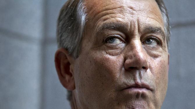 House Speaker John Boehner of Ohio, joined by other House GOP leaders, meets with reporters on Capitol Hill in Washington, Wednesday, June 27, 2012, following a political strategy session. Boehner defended the contempt of Congress vote against Attorney General Eric Holder, commented on the looming Supreme Court decision on the health care, and updated progress on student loans and the transportation bill. (AP Photo/J. Scott Applewhite)