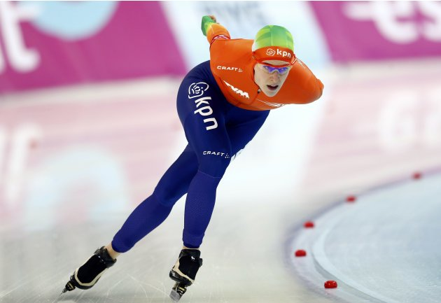 Wust of Netherlands competes during the women's 3000m speed skating event at the Essent ISU World Single Distances Championships 2013 in Sochi