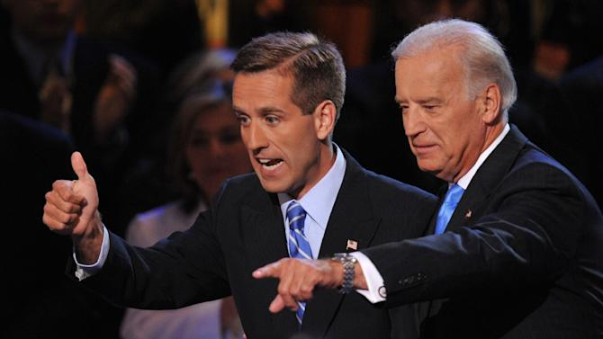 Joe Biden (R) and his son Beau acknowledge the crowd during the Democratic National Convention August 27, 2008 in Denver, Colorado