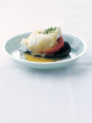 Poached Eggs with Roasted Tomatoes and Portabellas
