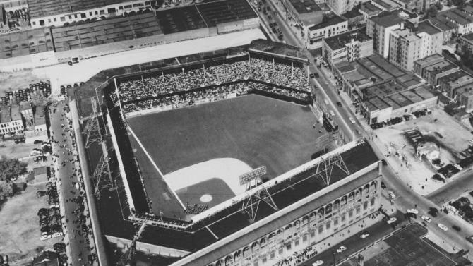 """FILE - This July 1954 file photo shows an aerial view of Ebbets Field stadium in the Brooklyn borough of New York. With the new movie """"42"""" bringing the Jackie Robinson story to a whole new generation, fans young and old may be interested in seeing some of the places in Brooklyn connected to the Dodger who integrated Major League Baseball. (AP Photo, file)"""