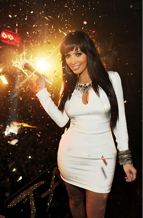 Kim Kardashian celebrates New Years Eve at Tao Las Vegas at the Venetian Hotel and Casino on December 31, 2011 in Las Vegas, Nevada.