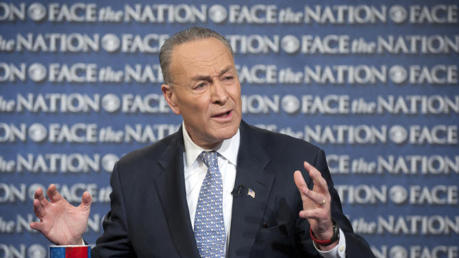 "In this photo provided by CBS News, Sen. Chuck Schumer, D-N.Y., appears, Sunday, April 7, 2013, on CBS' ""Face the Nation"" in Washington. Schumer spoke about gun legislation saying he's hoping for a bipartisan deal by the end of this week on a sweeping immigration bill to secure the border and allow eventual citizenship to the estimated 11 million people living here illegally. (AP Photo/CBS News, Chris Usher)"