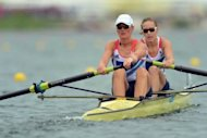 Great Britain&#39;s Helen Glover (R) and Heather Stanning compete in the women&#39;s pair final A to win the gold medal in the rowing event during the London 2012 Olympic Games, at Eton Dorney Rowing Centre in Eton, west of London
