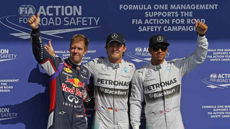Rosberg celebrates his pole position during the Belgian F1 Grand Prix in Spa Francorchamps