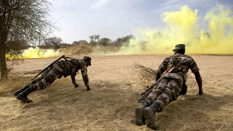 Nigerien soldiers do push-ups in front of a smoke bomb during Flintlock 2014 in Diffa