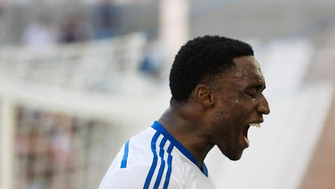 Marseille's Ivorian defender Brice Dja Djedje reacts after missing a shot during the French L1 football match between Olympique de Marseille (OM) and Montpellier (MHSC) on August 17, 2014