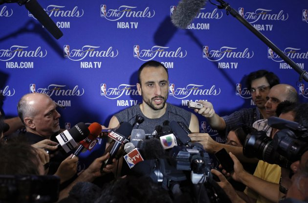 San Antonio Spurs' guard Ginobili speaks to media during a team practice ahead of Game 7 of the NBA Finals basketball playoff against the Miami Heat in Miami