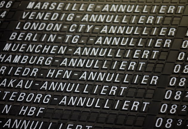 FRANKFURT AM MAIN, GERMANY - SEPTEMBER 07:  A departures board shows flight cancellations during a strike by Lufthansa cabin crews at the Frankfurt Rhein-Main Airport on September 7, 2012 in Frankfurt, Germany. Lufthansa has canceled hundreds of flights due to the strike over pay and work conditions. The UFO union reportedly said they would resume talks September 7.  (Photo by Ralph Orlowski/Getty Images)