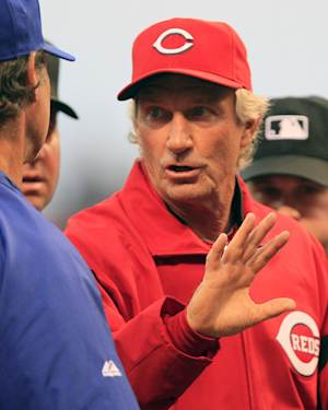 Cincinnati Reds acting manager Chris Speier goes over the ground rules prior to the start of a baseball game against the Los Angeles Dodgers, Friday, Sept. 21, 2012, in Cincinnati. (AP Photo/Al Behrman)