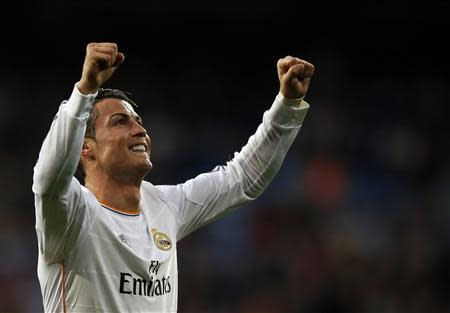 Real Madrid's Ronaldo celebrates after scoring a goal against Levante in Madrid