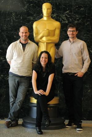 Student Academy Award Foreign Category winners Lennart Ruff, left, Hadas Ayalon, center, and Peter Baumann pose together for a portrait at the Academy of Motion Picture Arts and Sciences on Tuesday, June 3, 2014 in Los Angeles. The 41st Student Academy Awards ceremony will be held at the DGA Theater on Saturday, June 7, 2014, in Los Angeles. (Photo by Chris Pizzello/Invision/AP)