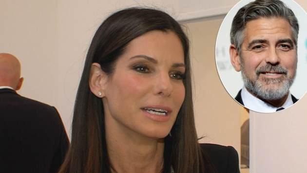 Sandra Bullock chats with Access Hollywood at the 'Out of Left Field' art show on May 23, 2013 in Los Angeles / inset: George Clooney -- Access Hollywood