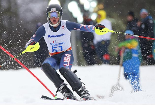 James Stanton of the United States races during the men's super combined, slalom, standing event at the 2014 Winter Paralympics, Tuesday, March 11, 2014, in Krasnaya Polyana, Russia