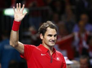 Federer of Switzerland reacts during his Davis Cup quarter-final tennis match against Kukushkin of Kazakhstan in Geneva