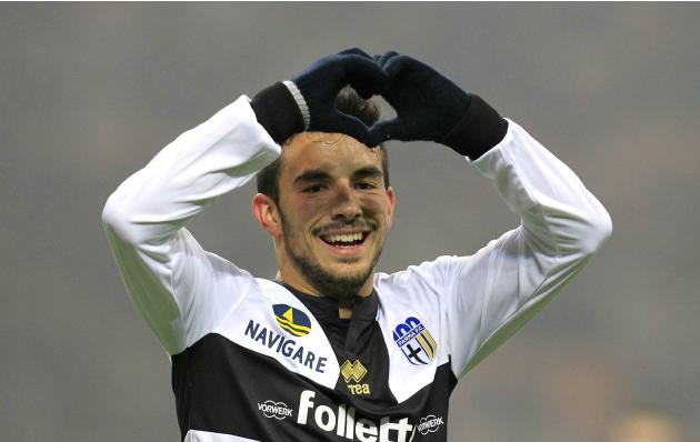 Parma's Sansone celebrates after scoring against Inter Milan during their Italian Serie A soccer match in Milan