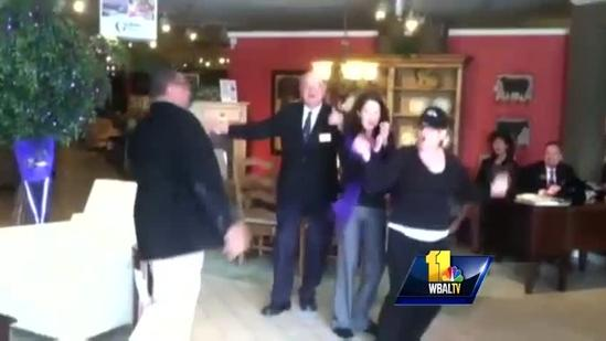 Gardiners Furniture employees do Ravens boogie