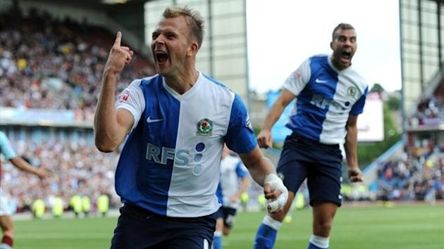 Blackburn Rovers' Jordan Rhodes celebrates after he scores his sides first goal of the game during the Sky Bet Championship match at Turf Moor, Burnley (PA Photos)