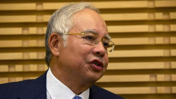 Malaysian PM Razak speaks during a meeting with U.S. Secretary of State Kerry in Kuala Lumpur