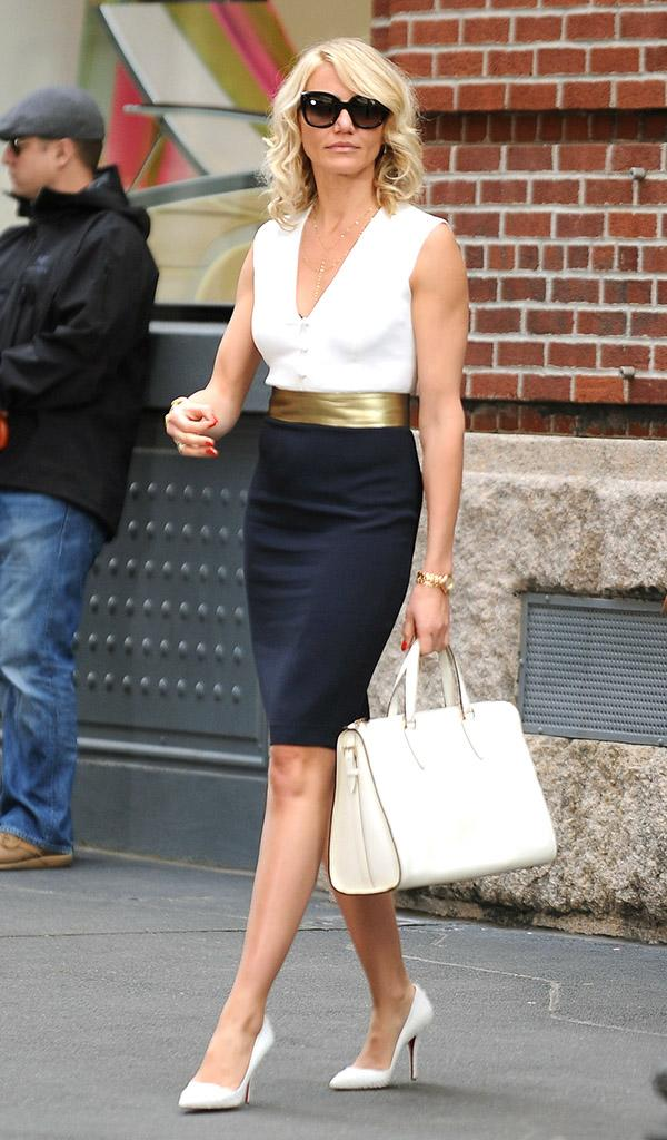 Cameron Diaz seen filming her latest movie 'The Other Woman' on a location in New York City