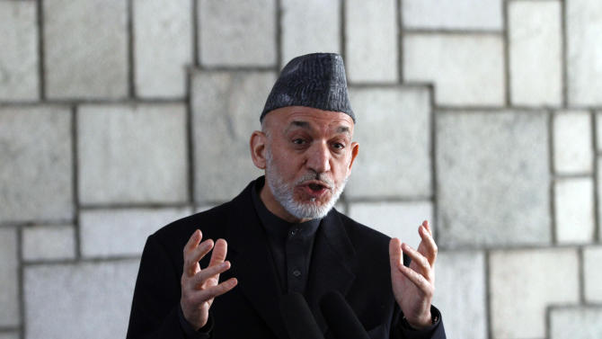 Afghan President Hamid Karzai speaks during a joint press conference with NATO Secretary-General Anders Fogh Rasmussen, not pictured, at the presidential palace in Kabul, Afghanistan, Monday, March, 4, 2013. Karzai lashed out once again at his supposed ally, Pakistan, saying Monday that a statement by a Pakistani cleric endorsing suicide bombings in Afghanistan shows the neighboring country is not sincere in efforts to fight terrorism. (AP Photo/Ahmad Jamshid)