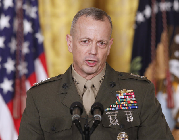 FILE -- In an April 28, 2011 file photo Marine Corps Lt. Gen. John Allen, speaks in the East Room of the White House in Washington.  The sex scandal that led to CIA Director David Petraeus' downfall w