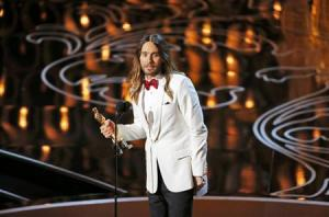 "Leto, best supporting actor winner for his role in ""Dallas Buyers Club"", speaks on stage at the 86th Academy Awards in Hollywood"