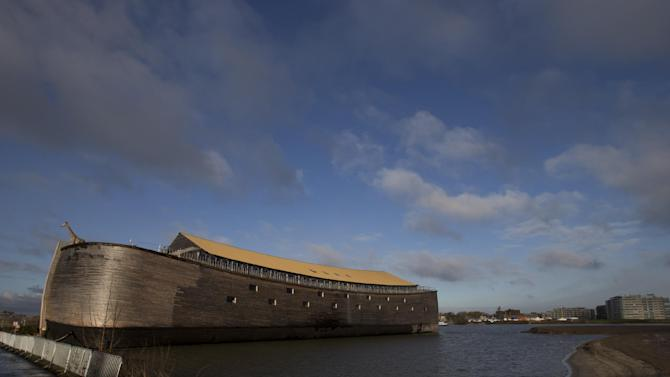 A full scale replica of Noah's Ark in seen in Dordrecht, Netherlands, Monday Dec. 10, 2012. The Ark opened its doors in the Netherlands after receiving permission to receive up to 3,000 visitors per day. For those who don't know or remember the Biblical story, God ordered Noah to build a boat massive enough to save animals and humanity while God destroyed the rest of the earth in an enormous flood. (AP Photo/Peter Dejong)