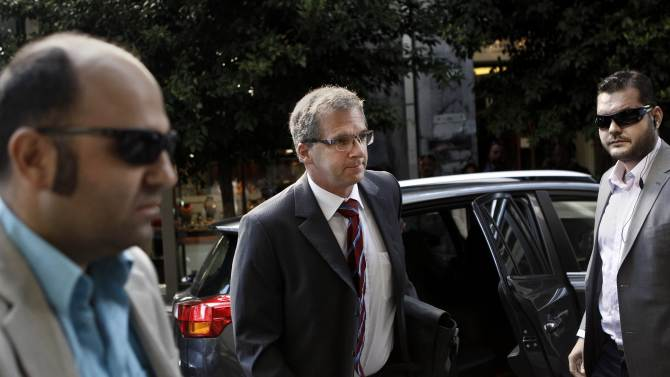 European Central Bank Mission Chief for Greece Klaus Masuch arrives at the Finance Ministry in Athens