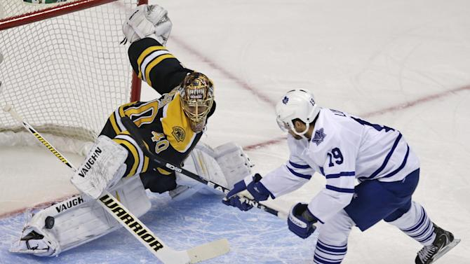 Boston Bruins goalie Tuukka Rask (40) makes a pad save on a shot by Toronto Maple Leafs right wing Joffrey Lupul, right, during the first period in Game 7 of their NHL hockey Stanley Cup playoff series in Boston, Monday, May 13, 2013. (AP Photo/Charles Krupa)
