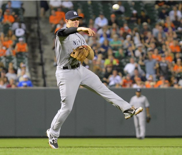 Yankees third baseman David Adams throws out Orioles batter J.J. Hardy on a slow grounder in the during the ninth inning of their MLB American League baseball game in Baltimore