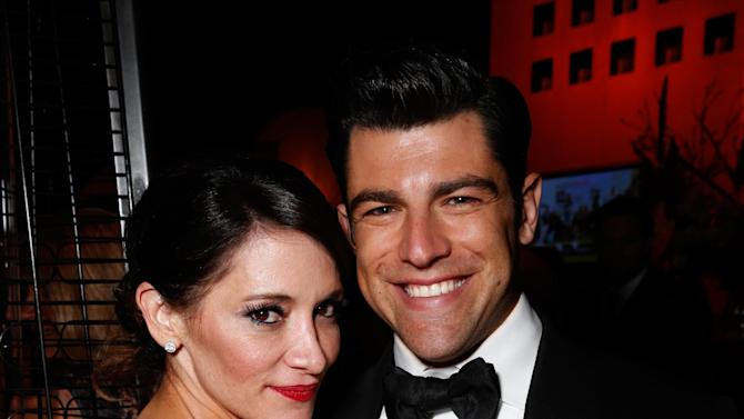 Actor  Max Greenfield, right, and Tess Sanchez attend the Fox Golden Globes Party on Sunday, January 13, 2013, in Beverly Hills, Calif. (Photo by Todd Williamson/Invision for Fox Searchlight/AP Images)
