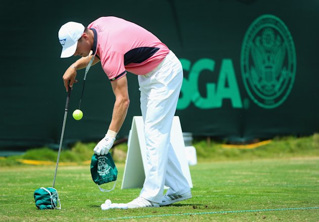 PINEHURST, NC - JUNE 14: Martin Kaymer of Germany works with a golf-training aid on the practice ground during the third round of the 114th U.S. Open ...