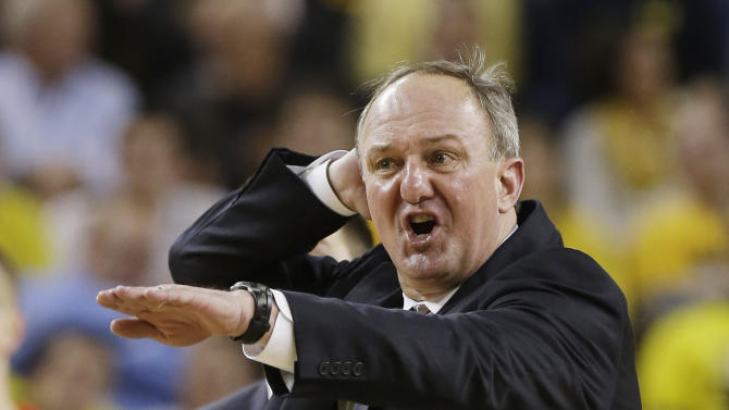 Ohio State head coach Thad Matta reacts during the second half of an NCAA college basketball game against Michigan at the Crisler Center in Ann Arbor, Mich., Tuesday, Feb. 5, 2013. (AP Photo/Carlos Osorio)