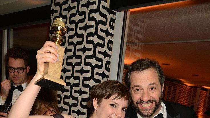 HBO's Official Golden Globe Awards After Party - Inside: Lena Dunham and Judd Apatow