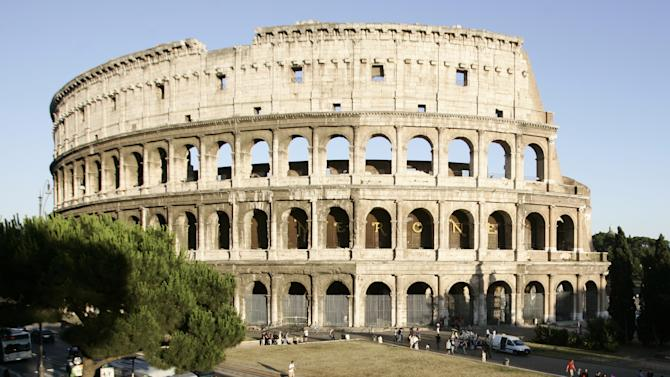 A view of the Colosseum prior to the start of a press conference to present restoration works of the monument, in Rome, Wednesday, June 22, 2011. (AP Photo/Riccardo De Luca)