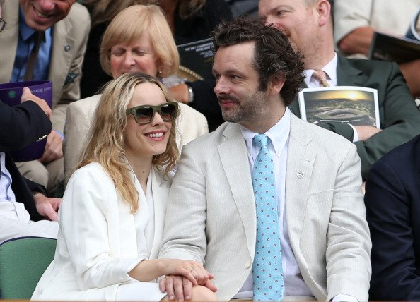 Rachel McAdams and Michael Sheen look on from the Royal Box on Centre Court ahead of the Ladies Singles final match between Serena Williams of the USA and Agnieszka Radwanska of Polandon day twelve o