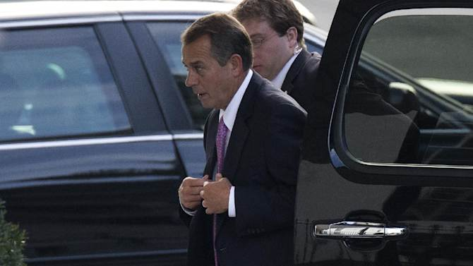 House Speaker John Boehner of Ohio arrives at the White House in Washington, Friday, Dec. 28, 2012, for a meeting between President Barack Obama and Congressional leaders to negotiate the framework for a deal on the fiscal cliff.  The negotiations are a last ditch effort to avoid across-the-board first of the year tax increases and deep spending cuts.  (AP Photo/ Evan Vucci)