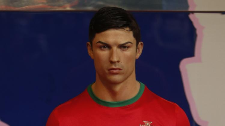 The wax statue of Cristiano Ronaldo,who plays for Real Madrid and Portugal's national soccer team, is seen at Madrid's wax museum