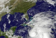 This NOAA GOES satellite image shows Hurricane Sandy. The crowded Jamaican capital took a direct hit Wednesday from Sandy, forcing hundreds to flee to emergency shelters as strong winds and heavy rains battered Kingston