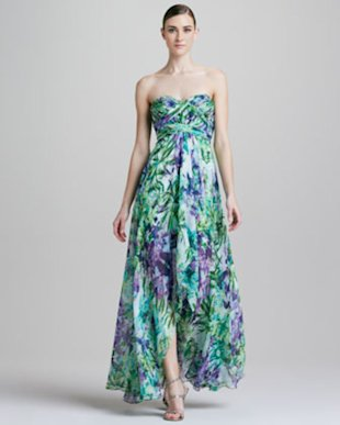 Aidan Mattox Printed Long Dress
